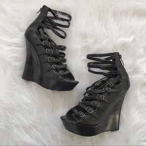Bebe black platform strappy ankle heels size 8